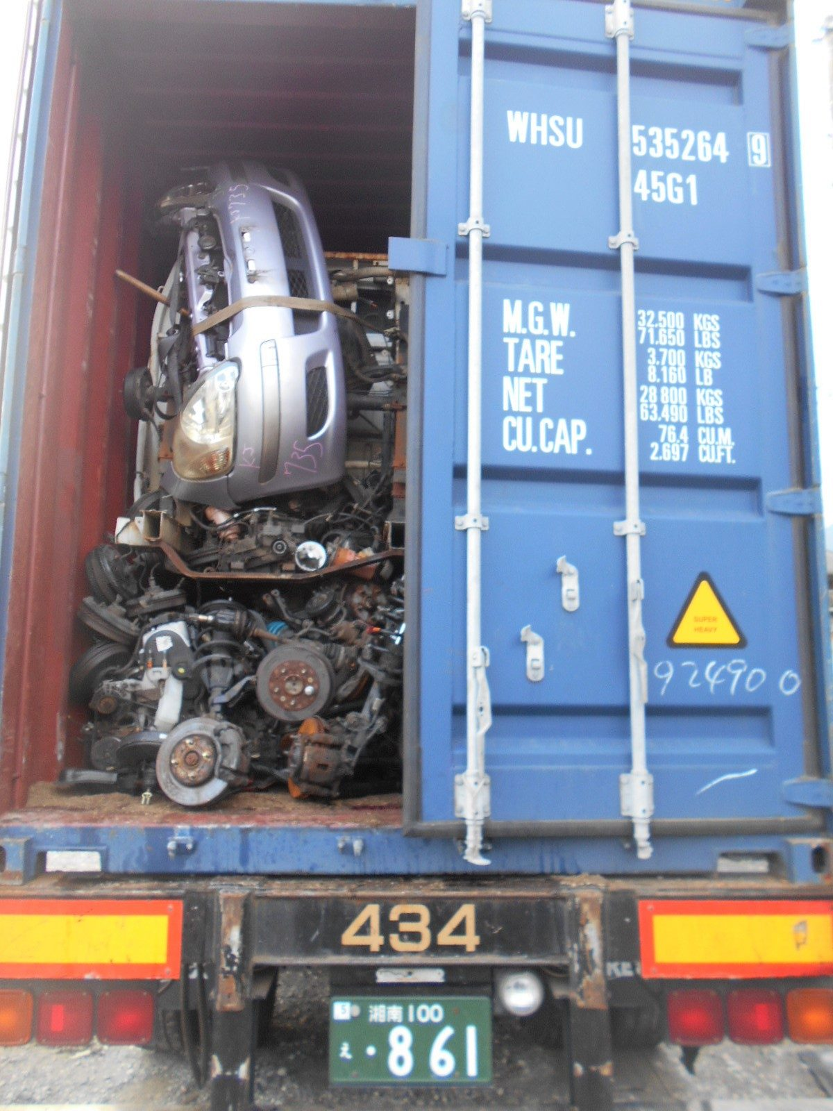 Japanese used auto parts container export to Dubai